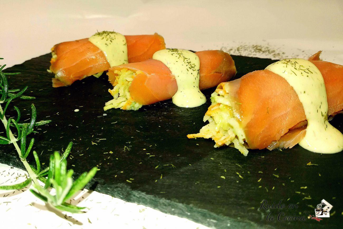 Canelones de salmón y manzana