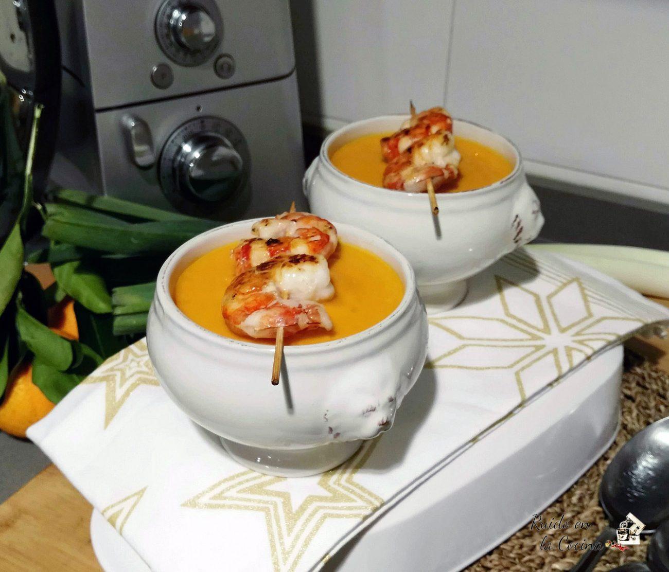 Crema de zanahorias y naranja con un toque de jengibre y canela