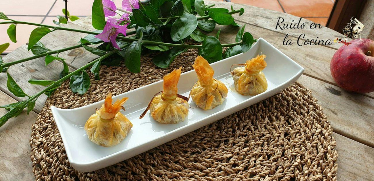Saquitos de pasta filo rellenos de champis y puerros