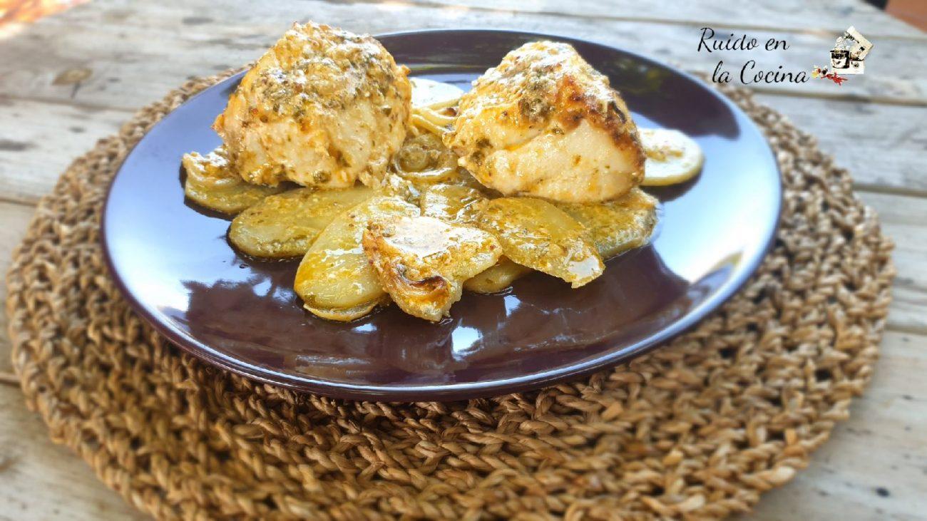 Mero al horno con patatas confitadas