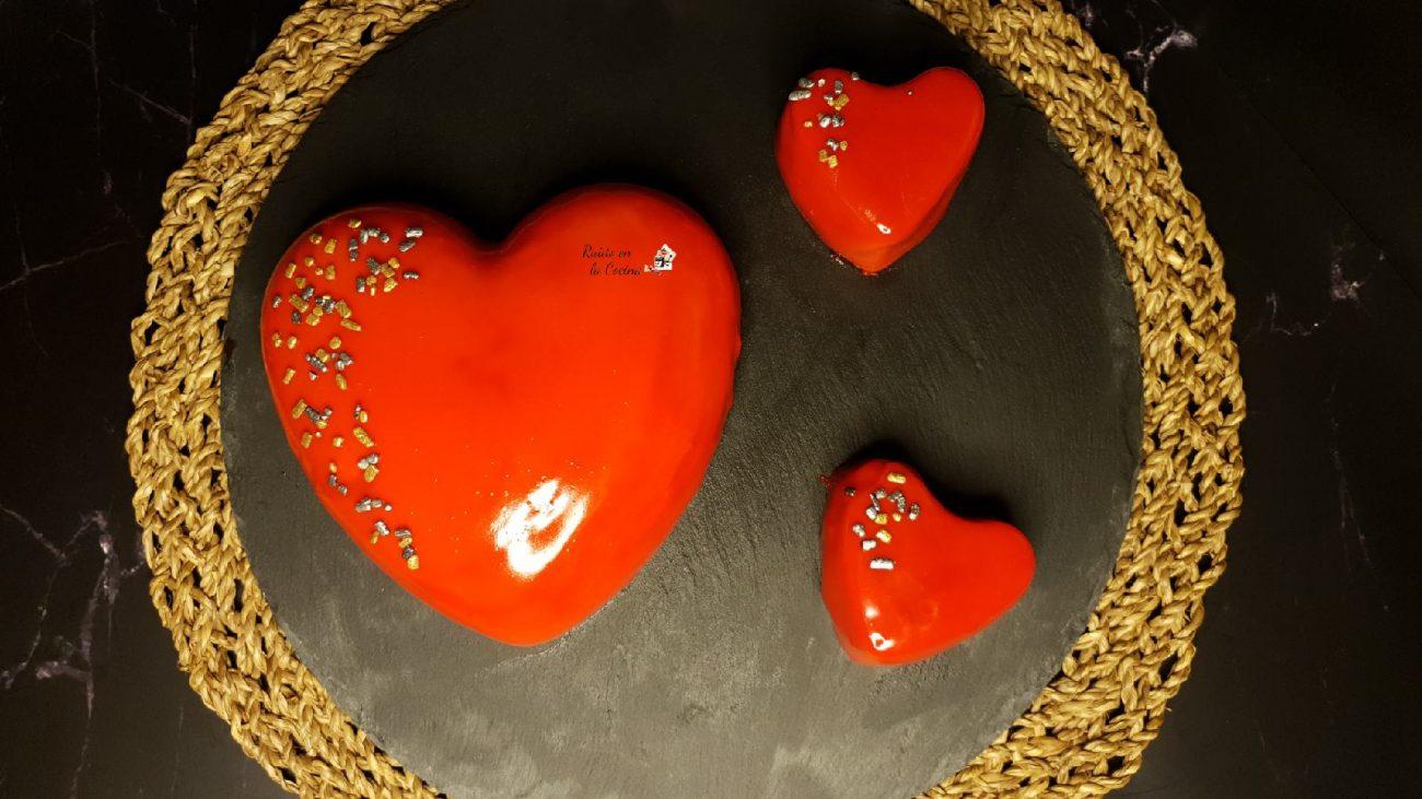 Tarta fría con glaseado espejo, San Valentín