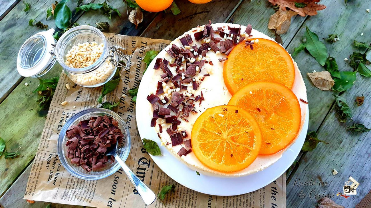 Tarta mousse de naranja y requesón